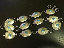 Rare 1960's-1970's Easter Blue Turquoise Navajo Indian Concho Belt .925 Silver