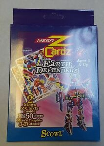 Scowl Earth Defenders 3-D Model Puzzle MegaZCardz. 2 Cards With 50+ Pieces