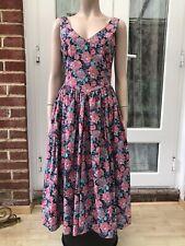 Stunning Floral Full Circle Vintage Laura Ashley 80s Dress Pockets VGC 12 (10)
