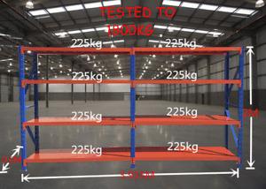 2Mx4Mx0.6M  Metal Warehouse Racking Garage Shelving 1800kg Storage Shelves