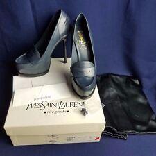 YSL Yves Saint Laurent Tribtoo 105 Moccasin Penny Loafer Pumps Shoes 37 6.5 - 7