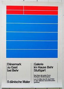 Original Ausstellungsplakat Poster DÄNISCHE MALER 1969 Behr Stuttgart SIEBDRUCK