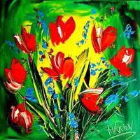 TULIPS ART Large Abstract Modern Original Oil Painting contemporary hu9p09u-DFB