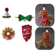 Christmas Holiday Pet Tutu Skirt Pet Santa Hat Bow Tie Scarf Bibs For Cat Puppy