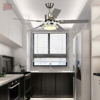 "48"" Ceiling Fan Lamp Brushed Nickel LED Light Reversible Motor w/ Remote Control"