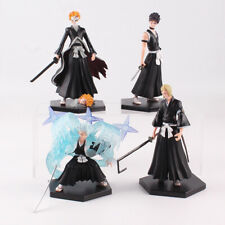 4Pcs/Set Bleach Kurosaki Ichigo Kuchiki Byakuya PVC Figure Collectible Model Toy