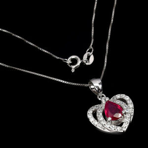 Pear Red Ruby 7x3mm Cz 14K White Gold Plate 925 Sterling Silver Necklace 16 Ins
