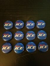 12 BUD ICE BLUE RED BEER BOTTLE CAPS USED RARE
