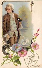 Valentine~Contemplative Regency Man~Art Nouveau Morning Glories~Emboss~Winsch