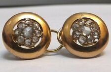 Oro 18 CT Antiguo Victoriano pendientes de diamantes