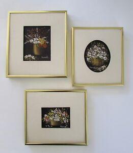 Mid Century Jack Hammell Miniature Flower Still Life Paintings Set 3