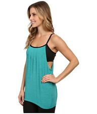 NWT Sz. Small BEYOND YOGA Pleated Fresh Perspectives Twofer Tank Cami Teal Black
