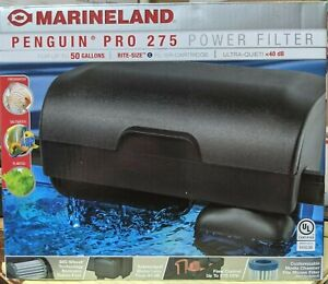 MarineLand Penguin Pro 275 Ultra-Quiet Power Filter w/ Rite-Size C - Black NEW