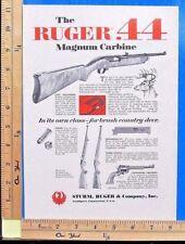 1966 RUGER 44 Magnum autoloading carbine hunting rifle gun Vtg Print Ad 9476