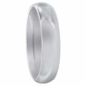 Stainless Steel Plain Comfort Fit 5mm Wedding Band Size 5 - 13