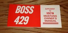 1970 Ford Boss 429 Mustang Owners Manual Supplement 70