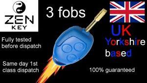 3 X NEW QUALITY 3 BUTTON UNCUT BLUE REMOTE KEY FOB FORD TRANSIT MK7 2006 - 2014
