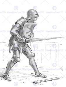 DRAWING ILLUSTRATION MEDIEVAL KNIGHT ARMOUR SHIELD SWORD ART POSTER PRINT CC6556