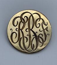 Monogram Initial Pin Brooch- Rbf Beautiful Vintage 1/20 12K Gold Filled