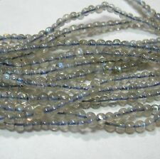 """Labradorite 3mm Round Beads 15.5"""" Strand AA Natural Color Blue Flash"""
