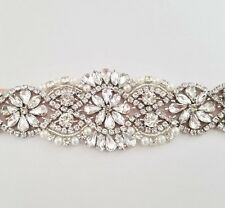 "CRYSTAL Pearl Wedding Bridal Dress Applique Trim = DIY! = 7 1/4"" long"