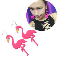 Women Acrylic Flamingo Birds Pendant Dangle Earrings Hook Fashion Jewellery Pink