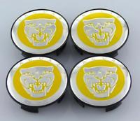 Gelb Jaguar 4 x 58mm Alufelge Nabenkappen Nabendeckel Satz Wheel Cap