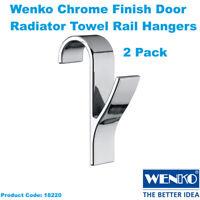 Wenko Chrome Finish Door Radiator Towel Rail Hanger Hooks Pack of 2