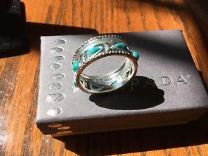 Silpada Trailblazer Ring .925 Sterling Silver Compressed Turquoise Size 9 NIB