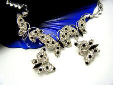 Trifari TM Black Clear Rhinestone Butterfly Necklace Earring Set