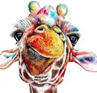 """Giraffe close Colourful Animal wall art printed on canvas 30'' X 30"""" solid frame"""