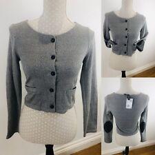 H&M Crop Cardigan Lightweight Blazer Size 8 Grey Pockets/Buttons Elbow Patch New