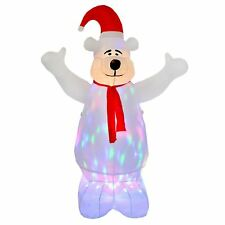 Giant 6ft Inflatable Polar Bear With Multi Colour Moving Disco Lights Inside