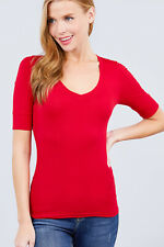 Women's Basic Elbow Sleeve V Neck T Shirt Soft Top (S-3XL)