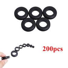 200pcs Car Rubber Grommet Assortment Set Black Electrical Wire Gasket Kit