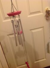 Wind chime of tubalar bells right pink with butterfly pendant and 5 tube bells
