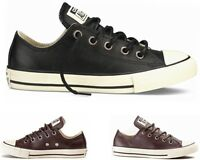 GIRLS BOYS CONVERSE CT ALL STAR OX BLACK BURNT UMBER LEATHER TRAINERS UK 1 - 5