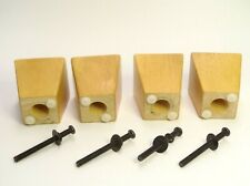 "SET OF 4 COUCH FEET / LEGS W/SCREWS 3"" TALL (W/O PEGS) X 3"" WIDE X 1.75"" WIDE"
