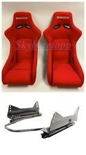 PAIR - 2 BRIDE ZETA II Low Max RED Bucket Racing Seats JDM WITH LONG SLIDERS
