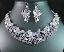 BUTTERFLY PURPLE AUSTRIAN RHINESTONE CRYSTAL NECKLACE EARRINGS SET BRIDAL N1692