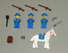 Lego Cavalry MINIFIGURES Lot 3 Old West Soldiers W Horse Guns Rifle Minifig Toys