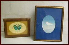 2 Old Vintage Framed PICTURES Bird Butterfly INSECT Holly Ralston Oyler Designs