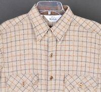 Vintage Woolrich  Long Sleeve B/F Wool Blend Plaid Shirt Mens L Beige Brown