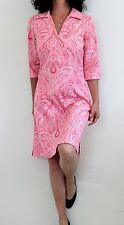 J. McLaughlin Cotton 3/4 Sleeve Notch Neck Collared Print Dress Pink Sz S