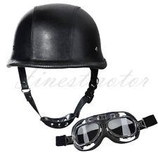 DOT German Black Leather Motorcycle Half Face Helmet Biker Pilot Goggles XL