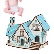 Wooden 3D Puzzle Dollhouse Doll Wood Villa House Building Model kit Jigsaw Toys