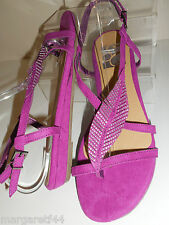PINK FAUX SUEDE STUDDED TOE POST SANDALS SIZE 11 WIDE FIT EEE BNWT FROM EVANS