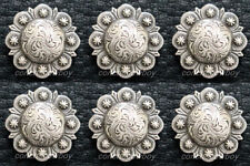 "Set of 6 WESTERN HORSE SADDLE TACK 3/4"" ANTIQUE BERRY CONCHOS screw back"