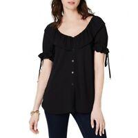 MICHAEL KORS NEW Women's Scoop-neck Flounce Blouse Shirt Top TEDO
