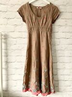 WHITE STUFF  Dress Size 8 BROWN| SMART Occasion CASUAL Embroidered floral linen